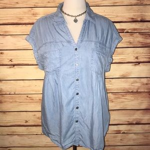 Style & Co Light Chambray Camp Shirt
